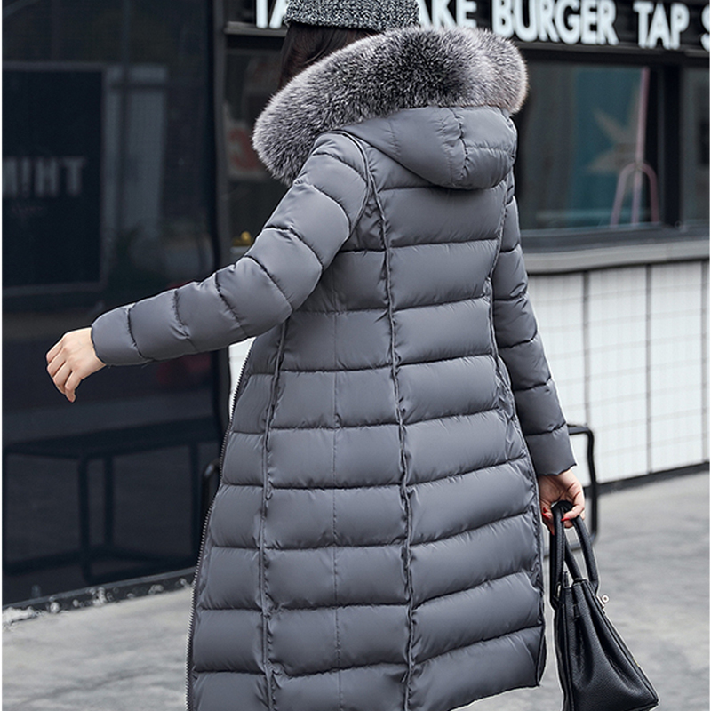 Large Fur Collar Down Jacket Female Long Section Thick Slim Slimming Warm Korean Version Of Down Jacket Cotton Trend