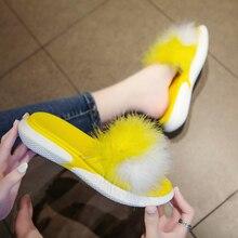 Summer Women Fur Slippers Real Fur Slides Slip On Female Furry Outdoor Flip Flops Casual Beach Sandals Fluffy Plush Shoes