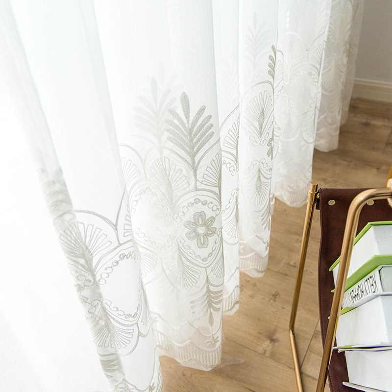 Embroidered White Tulle Curtains For Living Room European Voile Sheer Curtains For Window Bedroom Curtains Fabrics Panel M147-50