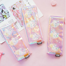 Cute Unicorn Pencil Case Iridescent Laser Transparent Pattern School Supplies Stationery Christmas Gift school supplise