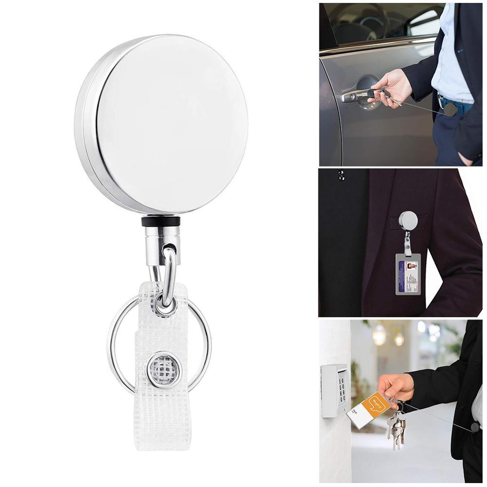 Antimicrobial Zinc Alloy EDC Door Opener Portable Press Elevator Tool Door Handle Key Anti-Lost Clip Door Pass Holder Keychain