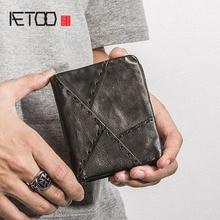 AETOO Handmade leather wallet men short section vertical zip