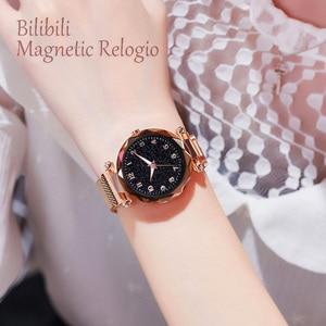 Image 2 - Luxus Leucht Frauen Uhren Starry Sky Magnetische Weibliche Armbanduhr Wasserdicht Strass Uhr relogio feminino montre femme