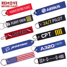 Remove Before Flight Car Keychains Berloques Red Embroidery Highlight Key Fobs Chains Jewelry Aviation Gifts Chaveiro Masculino(China)
