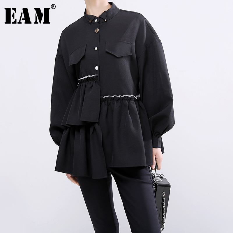 [EAM] Women Black Pleated Ruffles Cake Blouse New Stand Collar Long Sleeve Loose Fit Shirt Fashion Tide Spring Autumn 2019 1B717