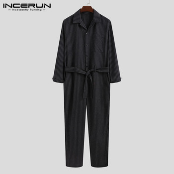Fashion Long Sleeve Lapel Long Pants Jogger Overalls Men Leisure Striped Jumpsuits Loose Buttons Rompers Streetwear INCERUN 5XL7 chic stand collar long sleeve rompers womens jumpsuits loose waist elastic drawstring streetwear robe slim overalls bodysuit