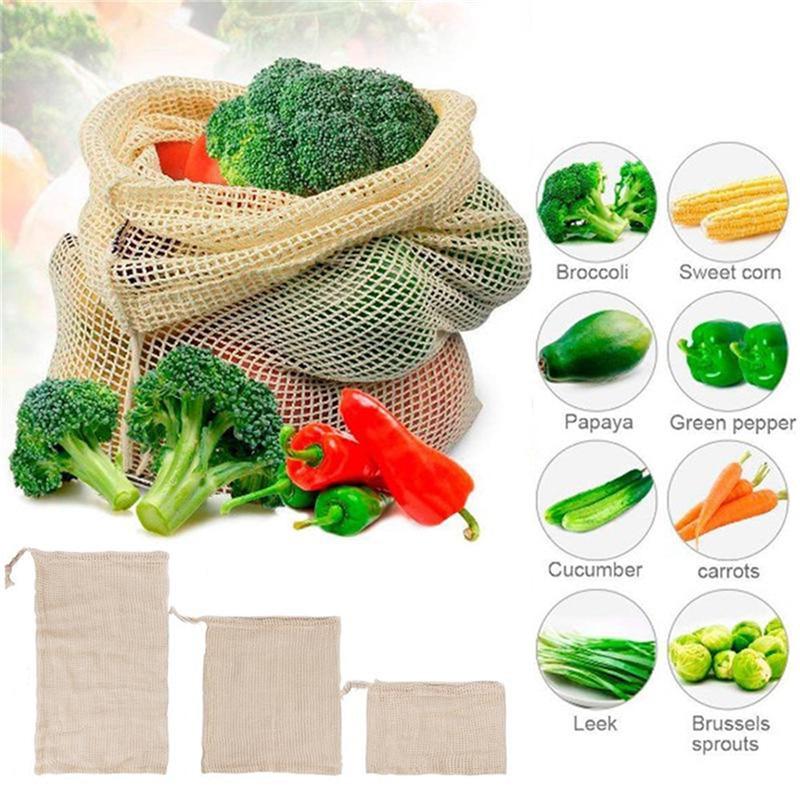 Vogvigo Useful Vegetable Bag Eco Cotton Shopping Bag Reusable Storage Mesh Bag Washable Kitchen Home Vegetable Shopping Bag