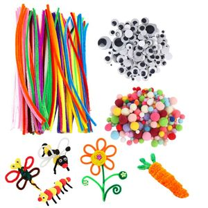 500pcs DIY Activities Pipe Cleaners Ornament Making School Projects Googly Eyes Chenille Kids Art Pompoms Craft Supplies Set