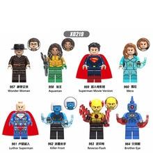 Single Sale  Building Blocks Super Heroes Figures Wonder Woman Aquaman Model Superman Flash Mera For Kids Toys DIY Gift X0219 стоимость