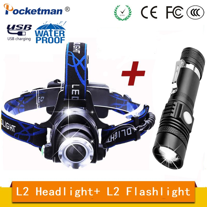 Best Price For Promotion Set L2 LED Flashlight And LED Headlamp With USB Rechargeable Waterproof Zoomable Torch For Outdoor Camp