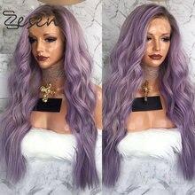 Zesen ombre lavanda roxo perucas sintéticas da parte dianteira do laço natural olhando longo ondulado peruca dianteira do laço cabelo de fibra para mulher