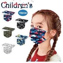 Mascarilla desechable con estampado para niños, máscara facial no tejida de 3 capas con sujeción para las orejas, con filtro solar, 10 Uds.