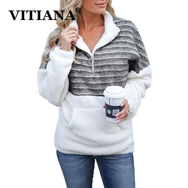 VITIANA Women Casual Fleece Hooded Autumn Winter 2019 Female Long Sleeve Striped Soft Warm Plush Hoodies Ladies Streetwear