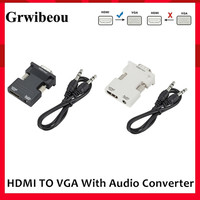 Convertitore da HDMI a VGA HDMI femmina a VGA maschio con adattatore di uscita Audio 3.5 da digitale a analogico HD 1080P per Tablet PC portatile