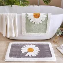 Home Bath Mat Non-slip Bathroom Entrance Mat Soft Non-Slip Absorbent Creativity Daisy Doormat Living Room Toilet Floor Rug Decor