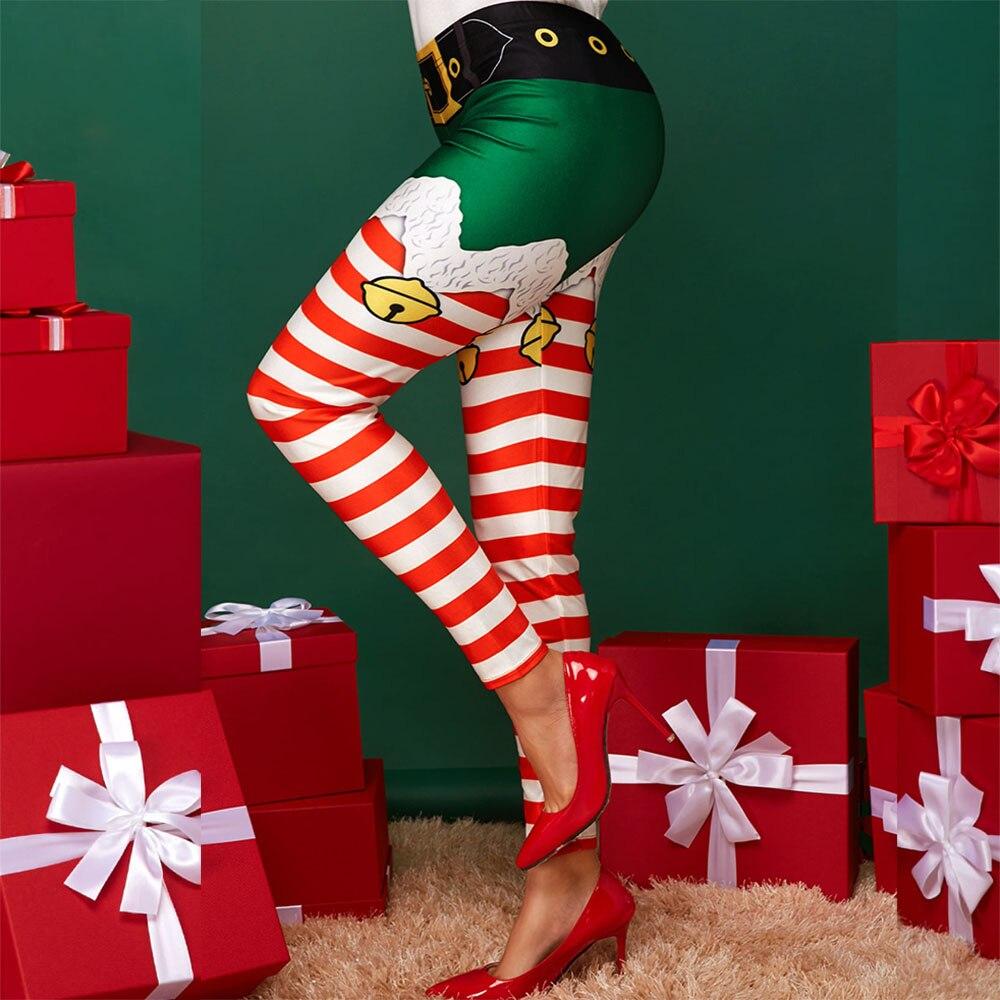 NADANBAO Christmas Belt Leggings Women Leggins Stripe Tribal Pocket Gift Autumn Winter Festival Legging Plus Size