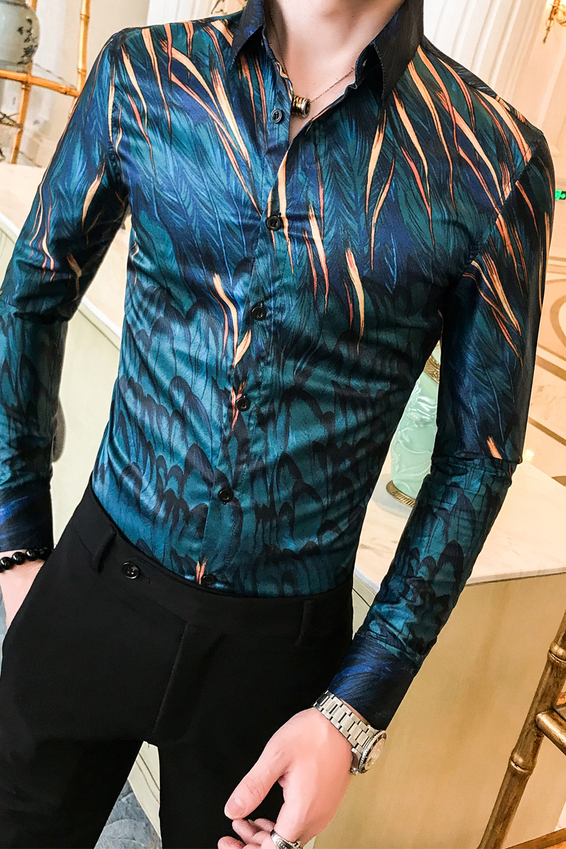 Image 5 - Высококачественная Мужская рубашка с цветочным рисунком, осенняя Новинка, рубашка смокинг с длинным рукавом, уличная Мужская Повседневная рубашка, облегающая праздничная одежда, блузка Homme-in Рубашки для смокинга from Мужская одежда on AliExpress - 11.11_Double 11_Singles' Day