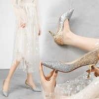 Zapatos de tacones de otoño para mujer Zapatos de tacón alto punta del dedo del pie para fiesta tacones elegantes y dulces zapatos femeninos moda nuevo 2019