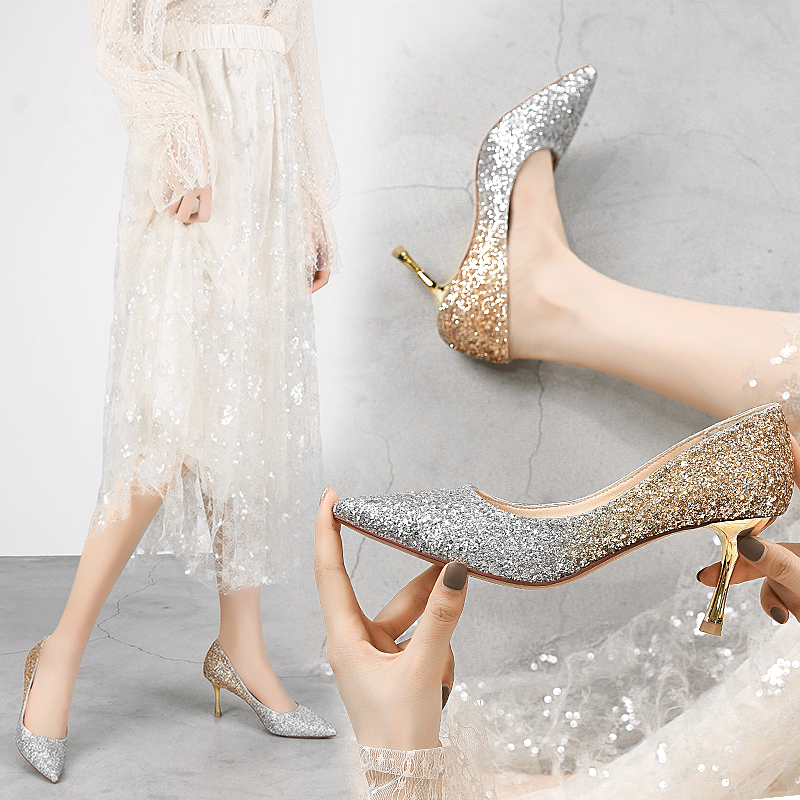 Autumn Heels Shoes Women High Heel Pumps Point Toe Party Glitter Heels Elegant And Sweet Female Shoes Fashion New 2019