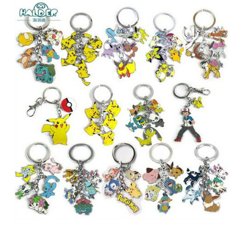 17 Style Anime Cartoon Pokemon Go Pikachu Keychain Pocket Monster Pendants Key Chains Cosplay Costume Souvenirs Llavero Chaveiro