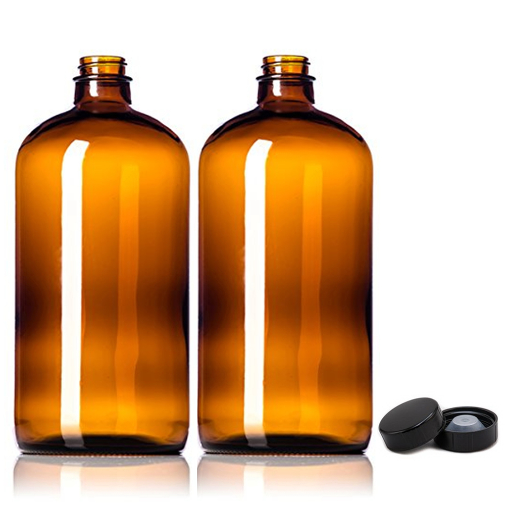 2pcs 32oz Amber Glass Growlers Empty Kombucha Bottles With Air Tight Seal Cap Lids For Secondary Fermentation Storing 1 Liter