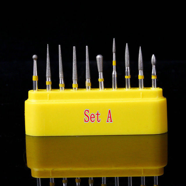 10pcs/kit Dental Diamond Burs for Teeth Porcelain Ceramics Composite Polishing 2