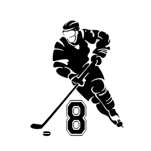 Car Stickers Unique Personality Hockey Player Decoration Decal Creative Sunscreen Waterproof Black and White, 16cm*13cm