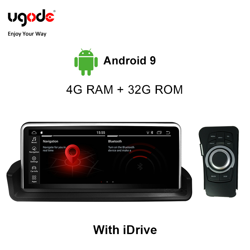 Ugode For <font><b>BMW</b></font> 3 Series <font><b>E90</b></font> E91 E92 E93 Car Multimedia Player <font><b>Android</b></font> 9.0 Plastic Metal <font><b>10.25</b></font> Inches Screen Monitor (2005-2012) image