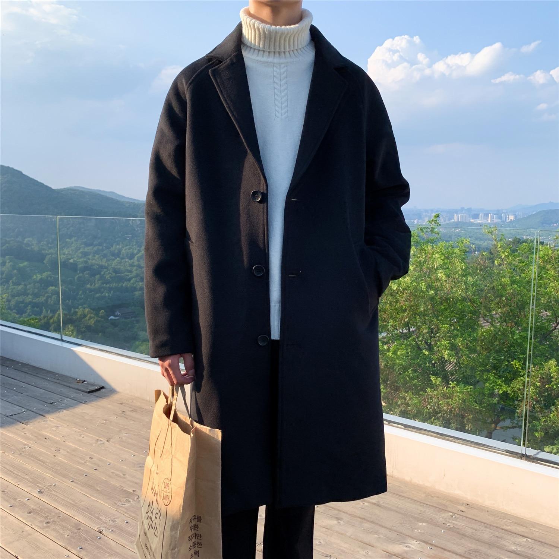 Зимнее Мужское пальто из смешанной шерсти, мужское кашемировое длинное пальто, ветровка свободного покроя с хлопковой подкладкой, шерстяной Тренч|Пальто| | АлиЭкспресс