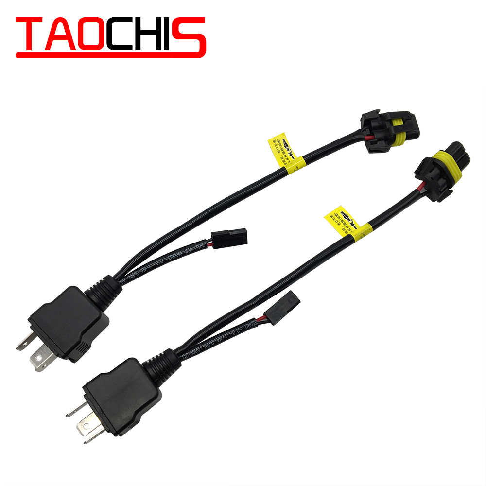 TAOCHIS Bi Xenon 35W 55W H4 12V 2pcs cable wire Harness For H4 9003 on