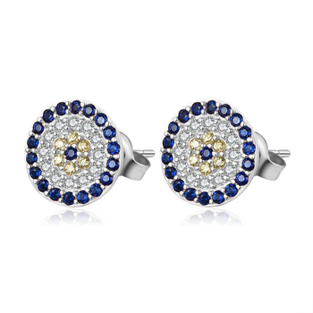 925 Sterling Silver Evil Eye Lucky Round Necklace & Earrings Blue Zircon Ring Necklaces Turkey Jewelry Set Necklaces Color de la gema: Studs