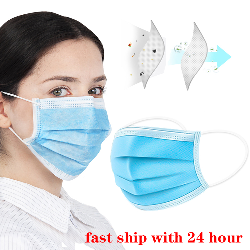 Mouth Face Mask 50Pcs/Pack 3-Ply Nonwoven Disposable Elastic Mouth Soft Breathable Mask Anti Pollution Emergency Protective Mask