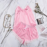Sexy Lingerie Set Silk Lace Sleepwear Women's Pajama Set Striped Bow Nightwear Cute Cami Top And Shorts Pijama пижама