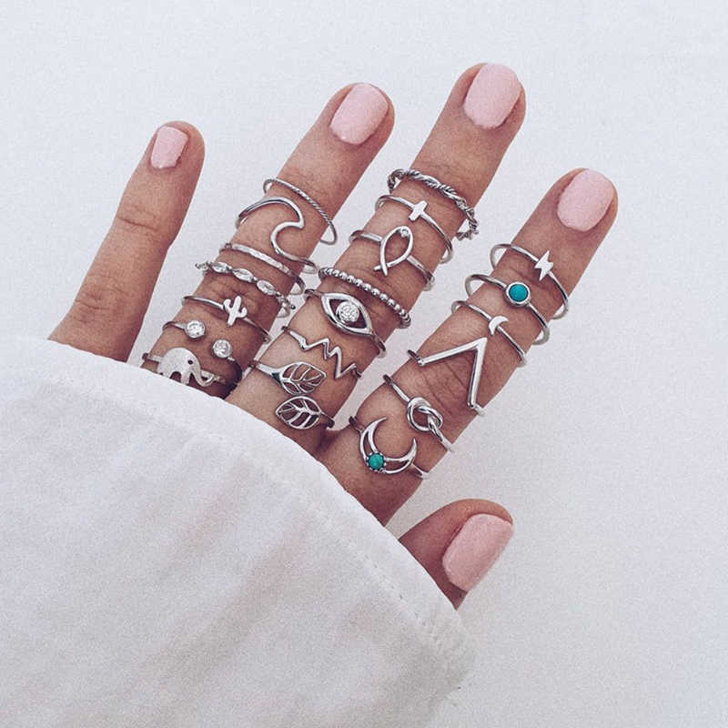 20 unids/set mujeres Cruz Luna conjunto de anillo de elefante Boho Hollow Leaves Eye Cactus Wave Lightning Crystal gema anillo de plata regalo de amante