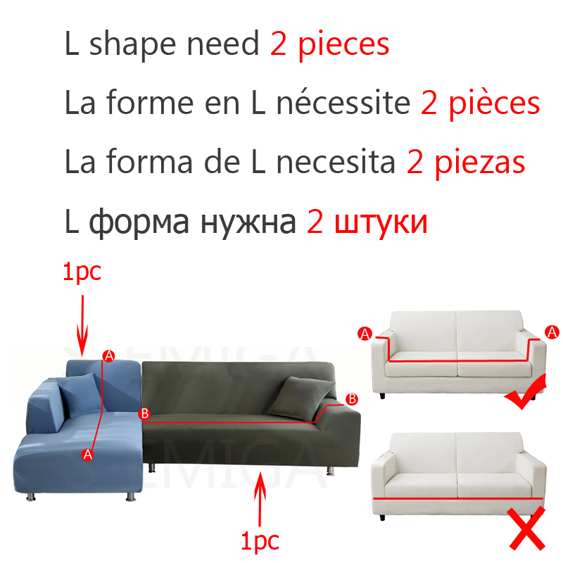 Velvet Plush L Shaped Sofa Elastic Furniture Couch Slipcover for Living Room Stretch Slipcover Couch Cover with Pillowcase