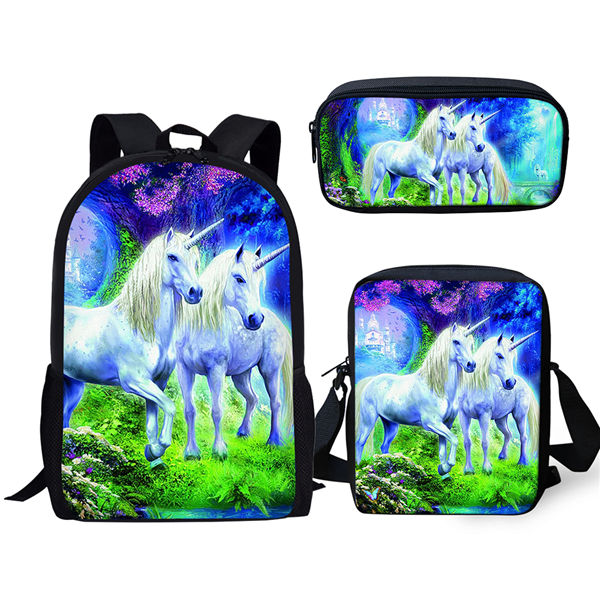 Unicorn Fantasy School Backpack and Pencil Case Set