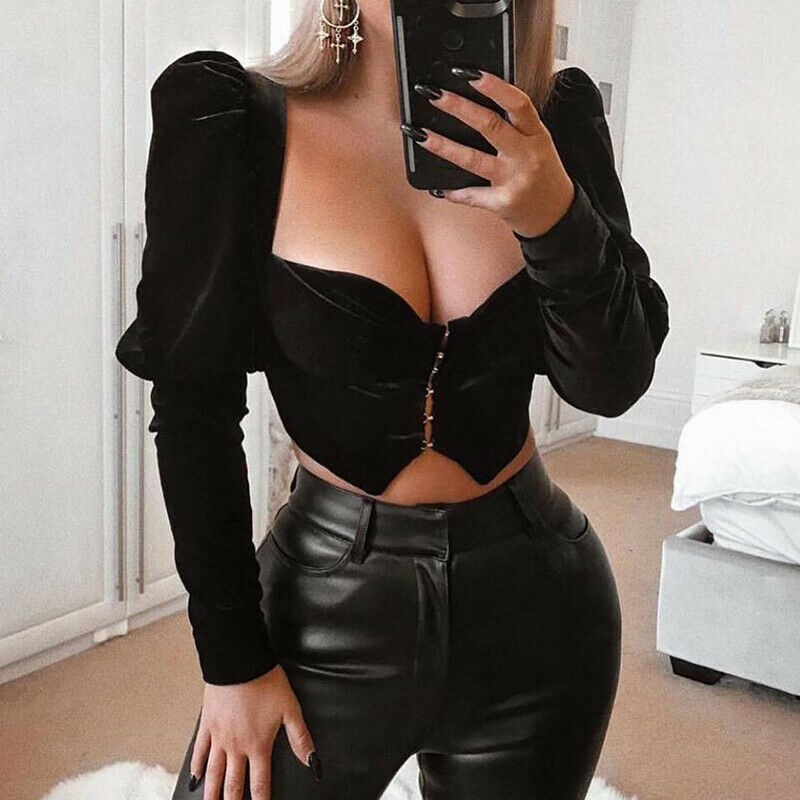 Women's Sexy Bodycon Square Neck Long Puff Sleeve Crop Tops Blouse Ladies Female Casual Tank T Shirt Vest Bustier Black Color