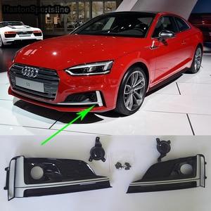 Image 3 - A5 S5 שחור קדמי ערפל אור כיסוי גריל ערפל מנורת Trim לאאודי A5 S5 Sline 2017 2019
