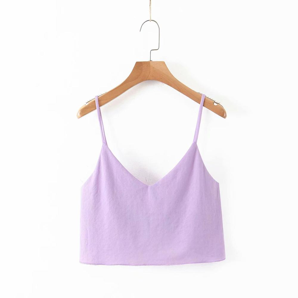 Women Sexy V Neck Camis Shirts Crop Tops Spaghetti Strap Sleeveless Backless Short Blouses Female Casual Solid Sling Tops LS6512
