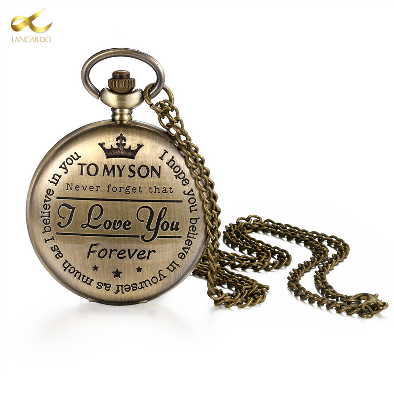 Lancard Bronze Customized To My Son Quartz Pocket Watch Vintage Roman Numeral Display Clock Birthday Gifts For Boys Dropshipping