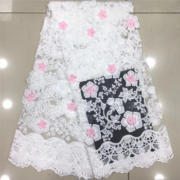 Latest party dress material with flower tulle cloth French net lace fabric for fashion dress PDN808(5yards/lot)