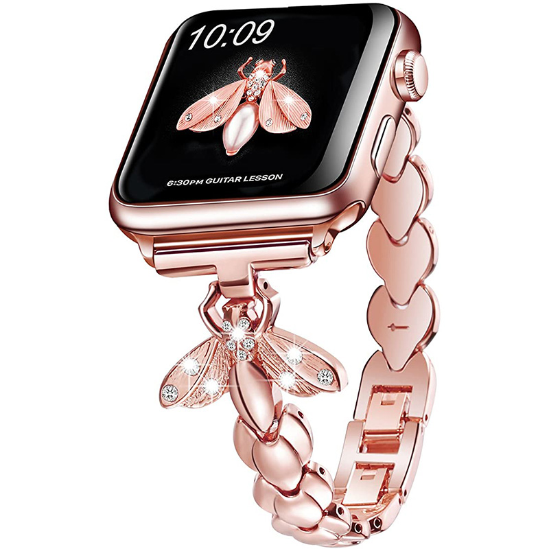 Woman Diamond Stainless Steel Strap For Apple Watch 6 5 Band 40/44mm Bee Jewelry Bracelet For iWatch Serie SE 4 3 Bands 38/42mm