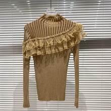 DEAT 2021 inverno 2021 donna New Fashion Streetwear manica lunga girocollo perline nappe decorazione in pizzo maglione lavorato a maglia RC514