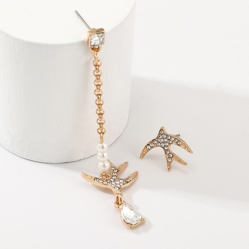 Fashion Drop Earrings For Women Creative Sweet Casual Asymmetrical Shiny Decoration Dove Pendant Female