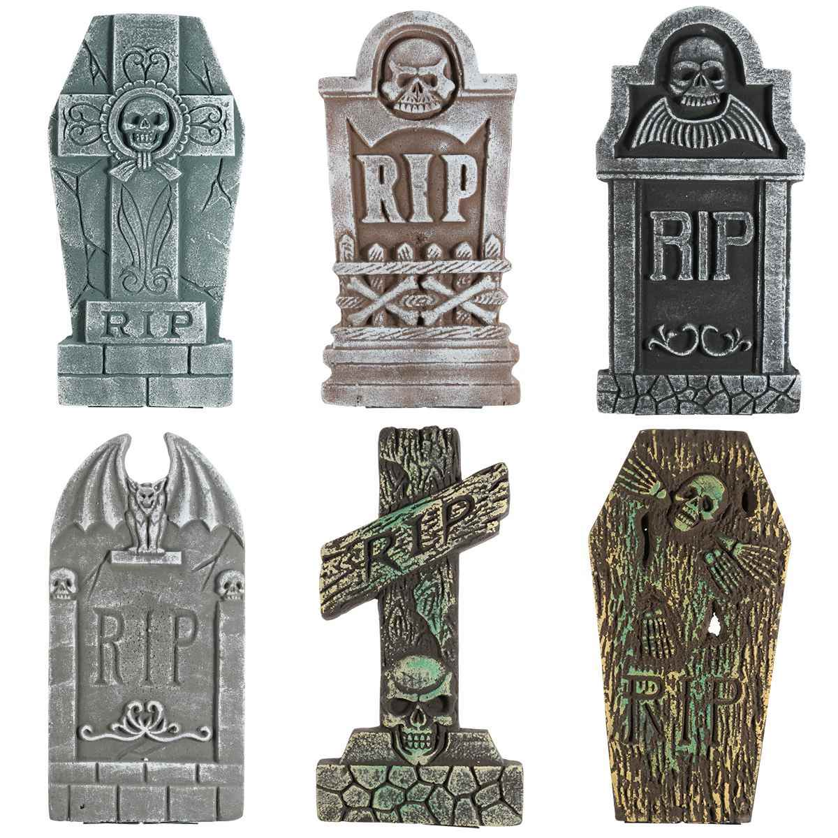 UNOMOR 6PCS Halloween Tombstone Decorations Haunted House Creative Foam Props Decoration Party Decor for Porch Yard Front Door