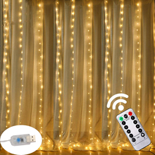 3M LED USB 전원 원격 제어 커튼 요정 조명 크리스마스 화환 조명 LED 문자열 조명 파티 정원 홈 웨딩 장식