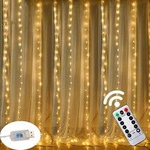 3M LED USB Power Fernbedienung Vorhang Fee Lichter Weihnachten Girlande LED String Lichter Party Garten Hause Hochzeit decor