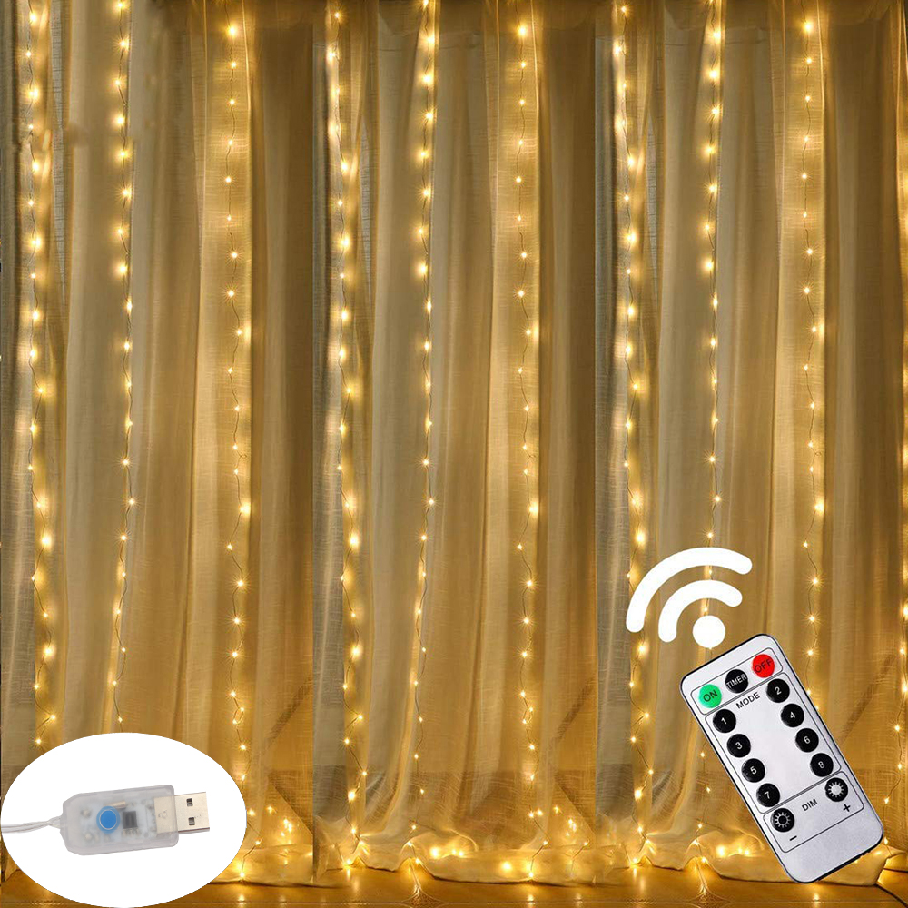 3M LED USB Power Remote Control Curtain Fairy Lights Christmas Garland Lights LED String Lights Party Garden Home Wedding Decor