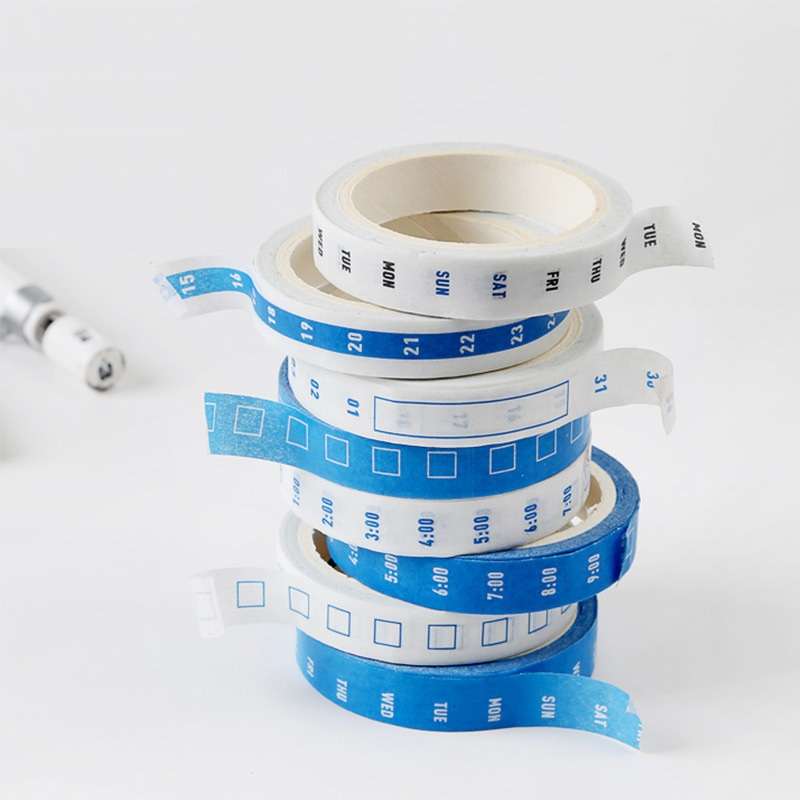 4pcs Mini Schedule Paper Washi Tape Week Date Time Check List 8mm Adhesive Masking Tapes Planner Agenda Stickers Office A6943