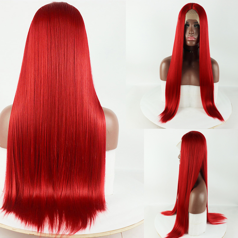 24 Inches Long Silky Straight Copper Red Synthetic Lace Front Wig High Temperature Hair Wigs For Fashion Women Middle Part